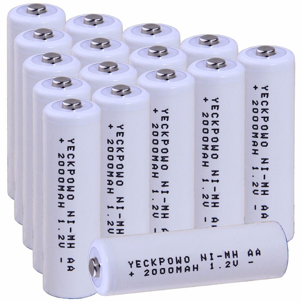 Real capacity! 16 pcs AA 1.2V NIMH AA rechargeable AA battery 2000mah for camera razor toy remote control flashlight