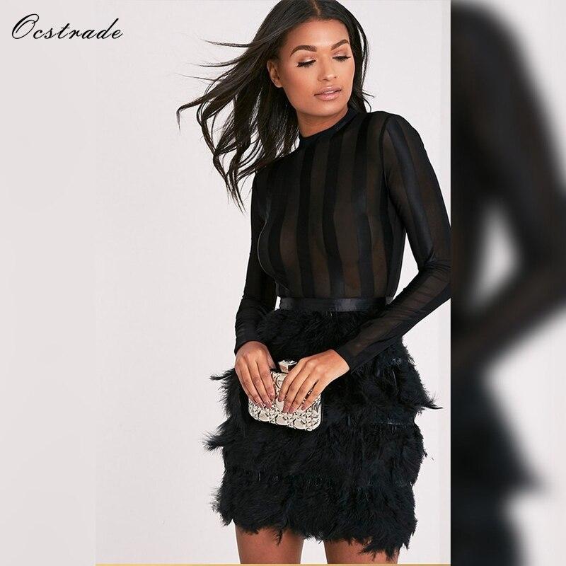 blanc Dames Fête Plume À 2018 Ocstrade En Sexy Nouveautés Pour Maille rouge Femmes Noir Moulante Noir Robe Manches Bandage De Longues PxTqSR