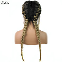Sylvia Dark Roots Ombre Blonde 2x Twist Braided Wigs with Baby Hair Heat Resistant Natural Long Synthetic Hair Lace Front Wigs