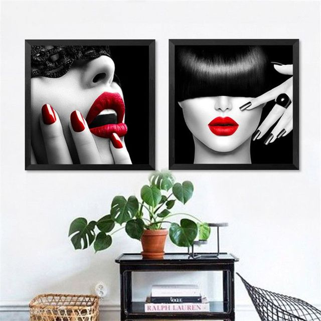 Modern Red Fashion Decorative Painting Manicure Makeup SPA