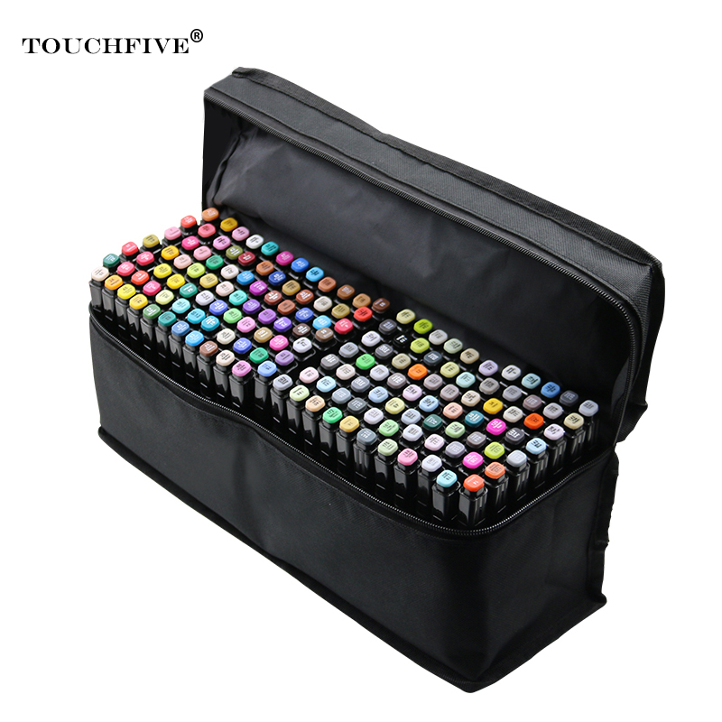 TouchFive 168 black Colors Markers Pen Painting Manga Art Marker Set Stationery Pen For School Sketch