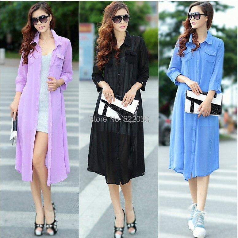 2017 Fashion summer women long cardigans coat mid-calf outwear clothing coats chiffon White, Purple, Black,Blue - BIG SIZE GARMENTS store