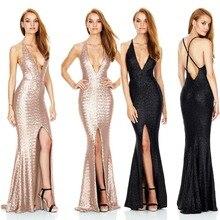 Женское пикантное длинное платье летние женские тонкое сексуальное платье без рукавов с v-образным вырезом, с вырезом на спине Разделение сдвиг Макси платье русалки Vestidos