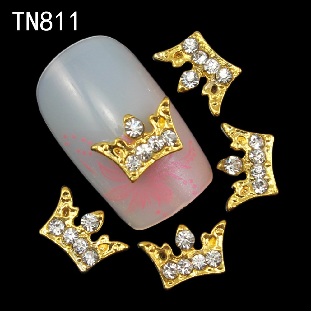 Blueness 10pcs 3d Glitter Gold Crown Design Alloy Nail art Charms Rhinestones 3D nail art decoration jewelry supplies TN811 10pcs glitter crystal nail gem rhinestones alloy 3d nail art jewelry diy phone case decoration mns784