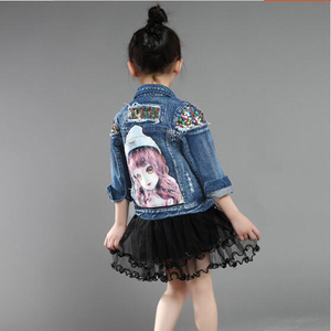 Image 5 - Baby Girls Denim Jackets For Boys Jackets And Coats Children Jacket Spring Autumn Rose Embroidery Jeans Coat Children Outerwear