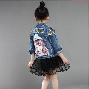 Image 5 - Dżinsowe kurtki dla dziewczynek dla chłopców kurtki i płaszcze kurtka dla dzieci wiosna jesień haft z różami dżinsy płaszcz dziecięca odzież wierzchnia