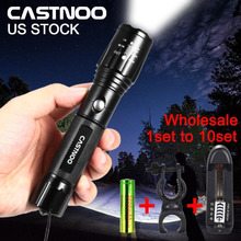 CASTNOO 1~10 Sets 8000 LM Zoom  XML T6 LED Flashlight Lamp Rechargeable USB 5 Modes +  Battery Charger +18650 Battery