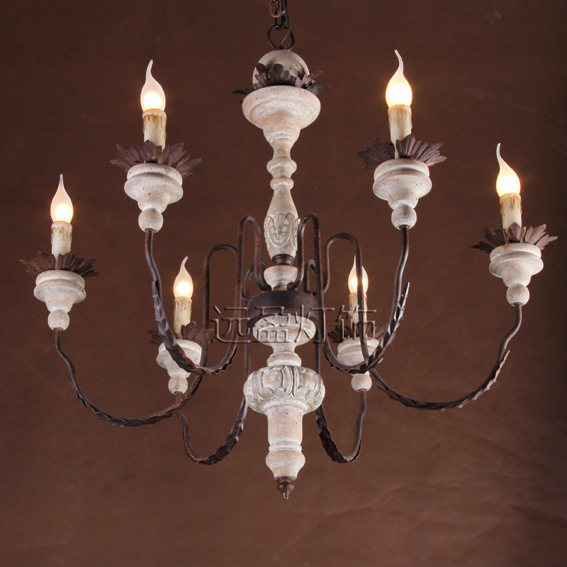 Far Surplus Handmade Wooden Personality American Wrought Iron Candle Chandelier With A Large