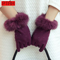 PTAH Winter Women Wool Rabbit Fur Wrist Gloves Solid Luxury Iglove Lady High Quality Outdoor Warmth Mittens 24CM Guantes PT9810.