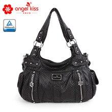 Angelkiss Новая модная женская сумка из искусственной кожи на молнии элегантная дамская Сумка Хобо на плечо сумка-мессенджер