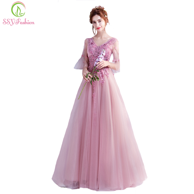 SSYFashion New Sweet Pink Lace Flower Evening Dress The Bride Banquet Butterfly Sleeves Appliques Floor length