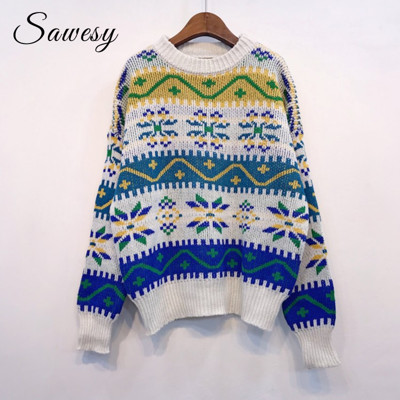 aliexpresscom buy vintage christmas sweaters woman 2018 fashion autumn winter long sleeve knitting women pullovers casual loose jumper femme white from