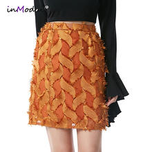 Inmodai Summer Mini Short Skirts Women High Waist Brown Pencil Skirt Office Lady  Sexy Bodycon Bandage Party Short Skirt INM284 4d8d86da0916