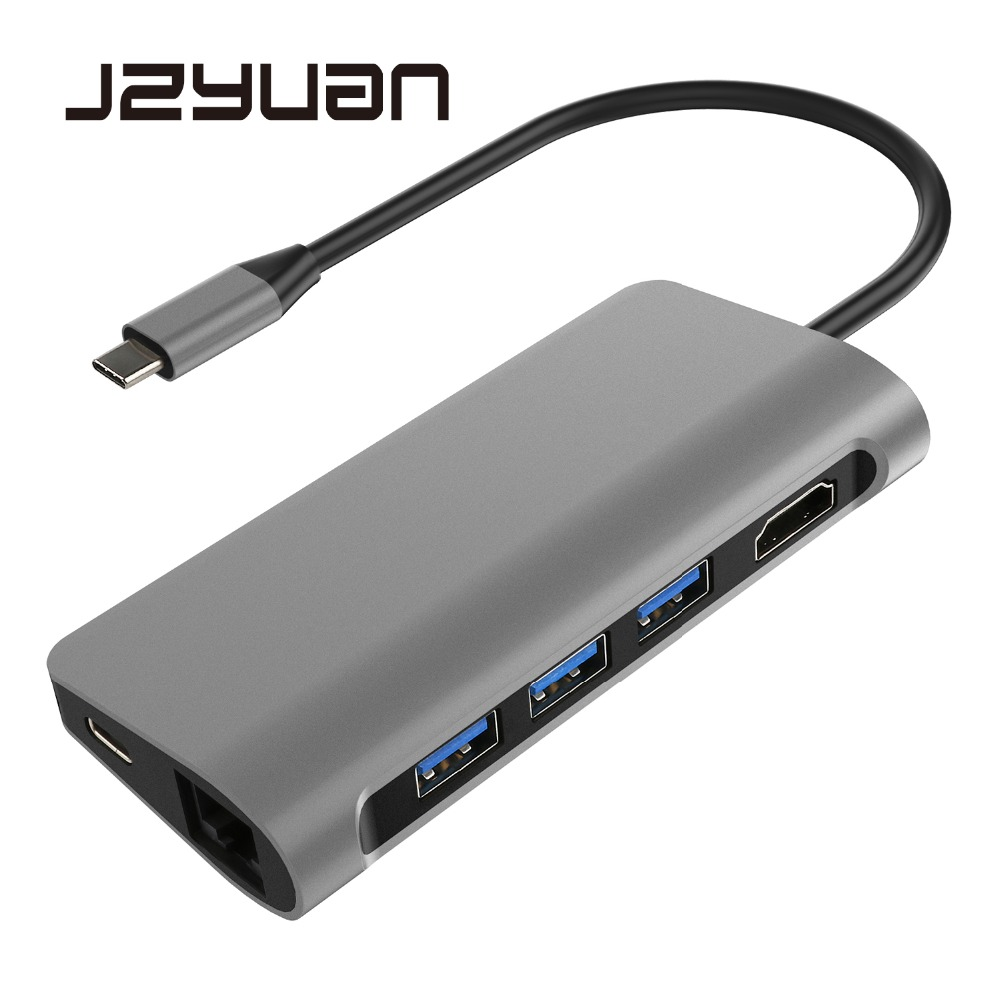 Thunderbolt 3 USB C 3.1 Hub HDMI 4K Ethernet RJ45 SD/TF Card Reader USB 3.0 With Type-C Charging Port For Macbook Pro USB-C Dock недорго, оригинальная цена