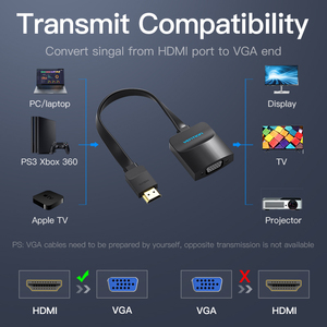 Image 5 - Vention HDMI to VGA adapter Digital to Analog Video Audio Converter Cable 1080p for Xbox 360 PS3 PS4 PC Laptop TV Box Projector