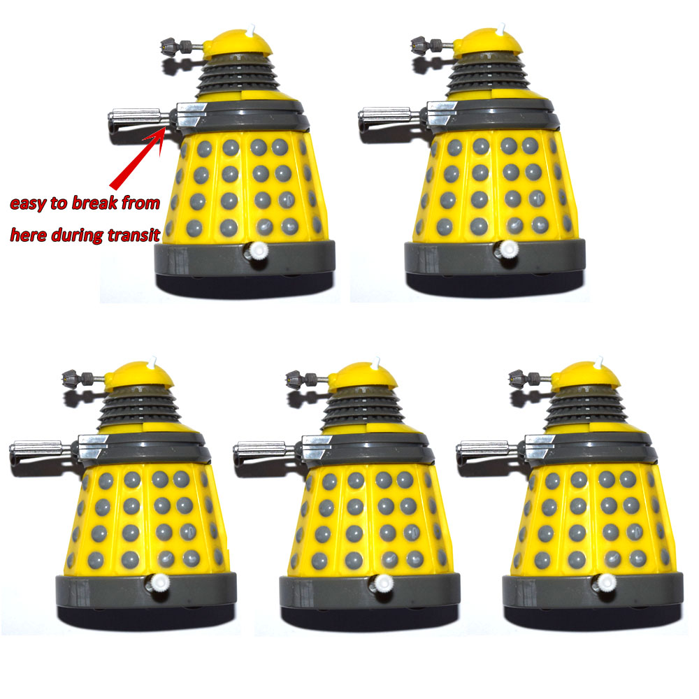"""Lot of 5 Dr. Doctor Who Yellow Wind Up Dalek 3"""" Mini Loose Action FigureAction & Toy Figures   -"""