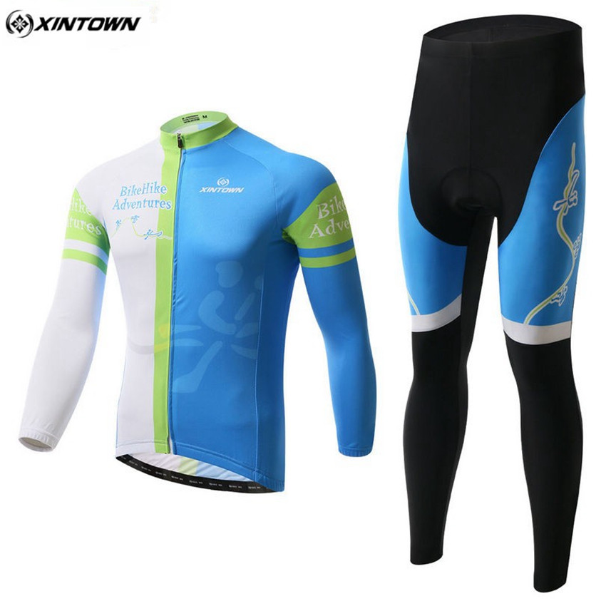 XINTOWN Winter Mtb Men Long Cycling Jersey Set Ciclismo Bike White And Blue Sportswear Riding Cycling Clothing CC0333 xintown men s cycling long jersey top padded pants set black purple multi color m