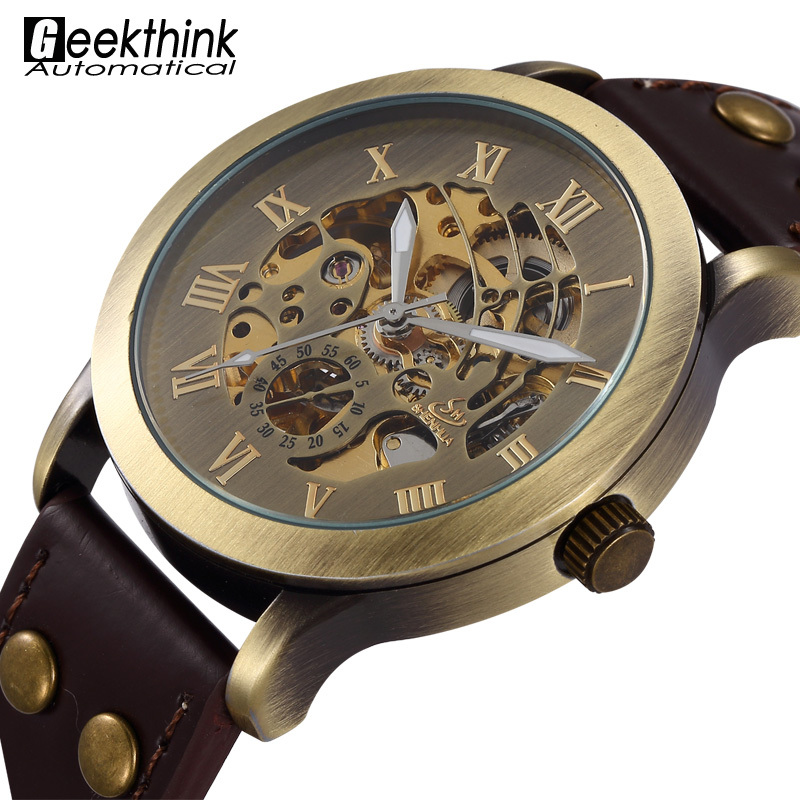 Design Antique Automatic Skeleton Mechanical Wrist Watch Black Leather Men's Wristwatch Relogio Masculino 2015 New Steampunk