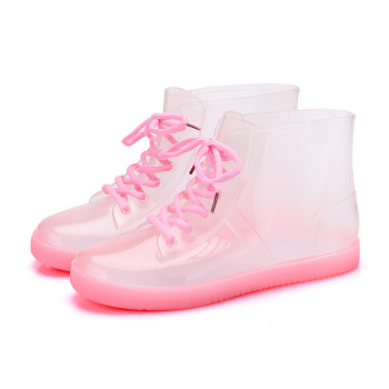 Women's Rain Boots PVC Waterproof Shoes 2019 Fashion Transparent Female Ankle Boot Rubber Sole Non-Slip Woman Rain Boots Shoes