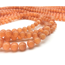 4 6 8 10 12 MM Round Loose Cat Eye Orange Opals Beads Natural Stone for Jewelry Making Craft DIY Charm Bracelet Findings