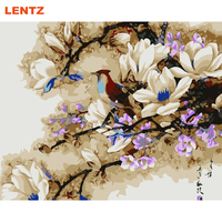 LENTZ Frameless Picture By Numbers Flower Peony Magnolia Picture Diy Paint By Numbers Room Decor Wall