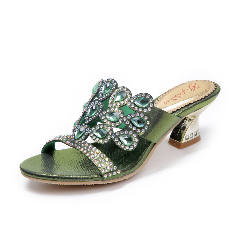 b68931dc5b5e0 2017 New Diamond Sandals Green Cheap Chunky High Heels Best Luxury Casual  Shoes Ladies Leather Slippers-in Slippers from Shoes on Aliexpress.com
