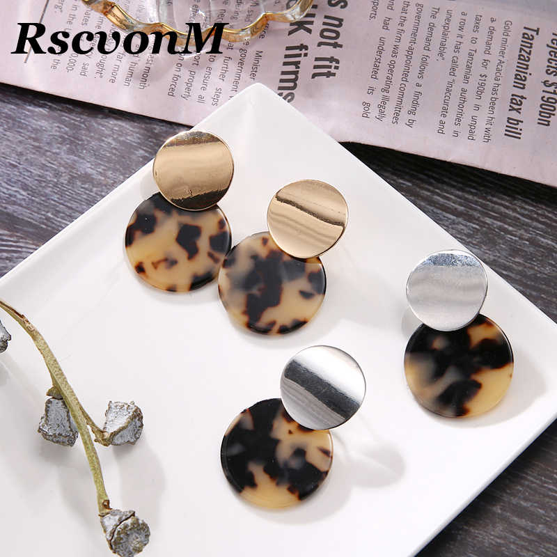 RscvonM Vintage Colorful ZA Leopard Print Dangle Earrings For Women Fashion Round Drop Earring Female Wedding Party Jewelry