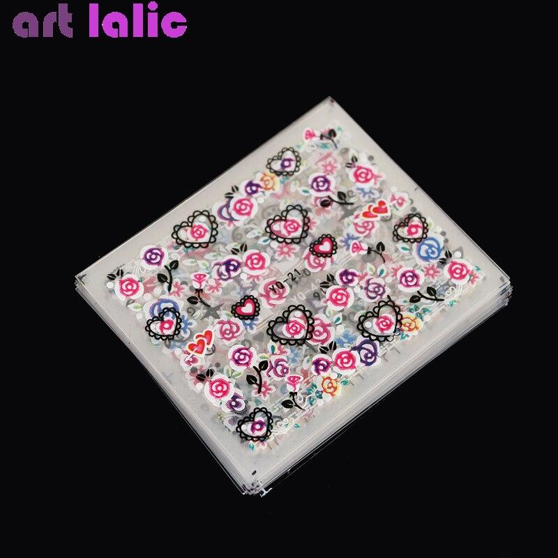 50 листов смешанный дизайн 3D цветные наклейки на ногти Цветы Сердце цветы Бабочка украшения для ногтей