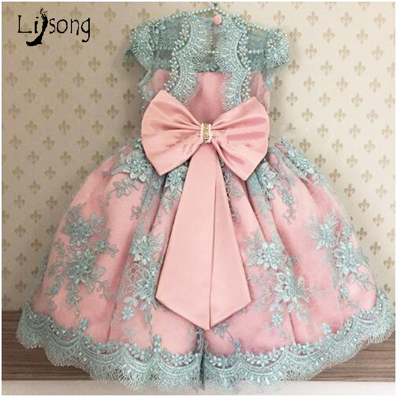 Princess Pearls Appliques Pink Blue Flower Girl Dress with Bow Sashes Knee Length O neck Custom Made Ball Gowns for Little Baby