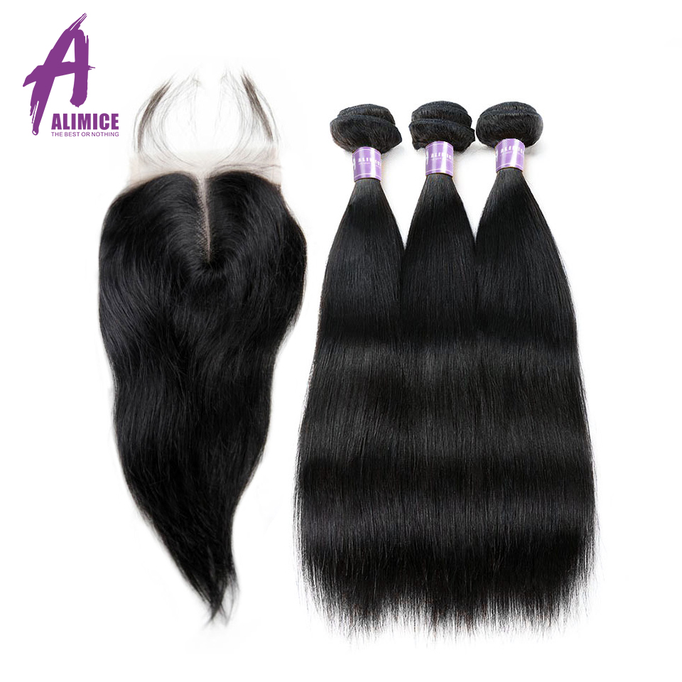 Malaysian Straight Hair 3Bundles Weaves Human Hair Weft Bundles With Lace Closures With Bundles Alimice Non Remy Hair Extensions
