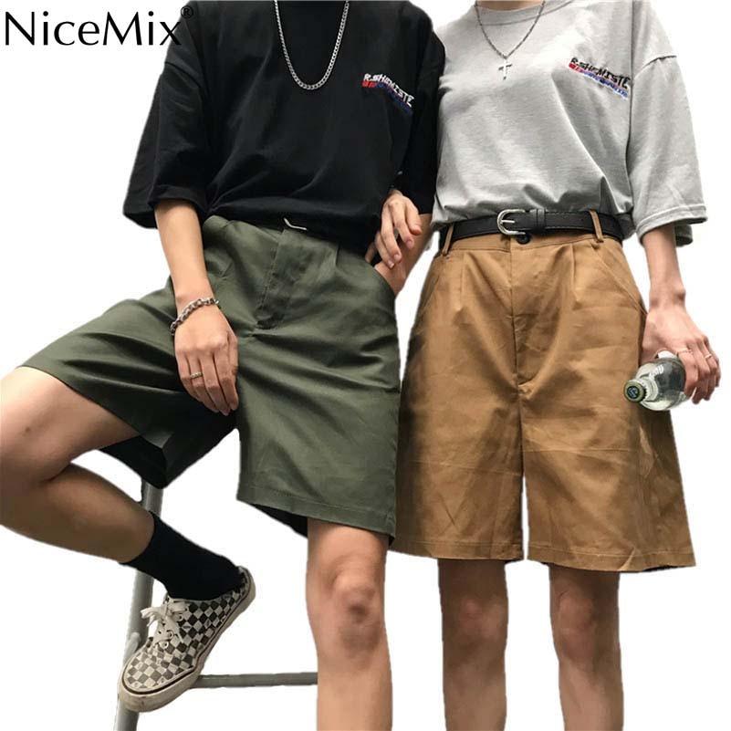 NiceMix Fashion   Shorts   Men Button Solid Cotton Knee Length Classic   Shorts   Women Casual Bottoms Summer Streetwear Bermuda 2019