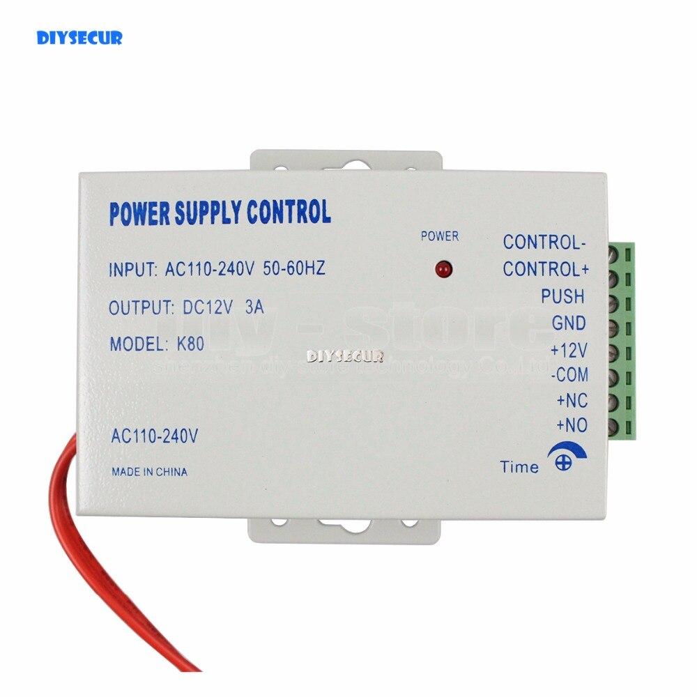 DIYSECUR Door Access Control System Power Supply Control DC 12V 3A /AC 110~240V 4pcs 12v 1a cctv system power dc switch power supply adapter for cctv system