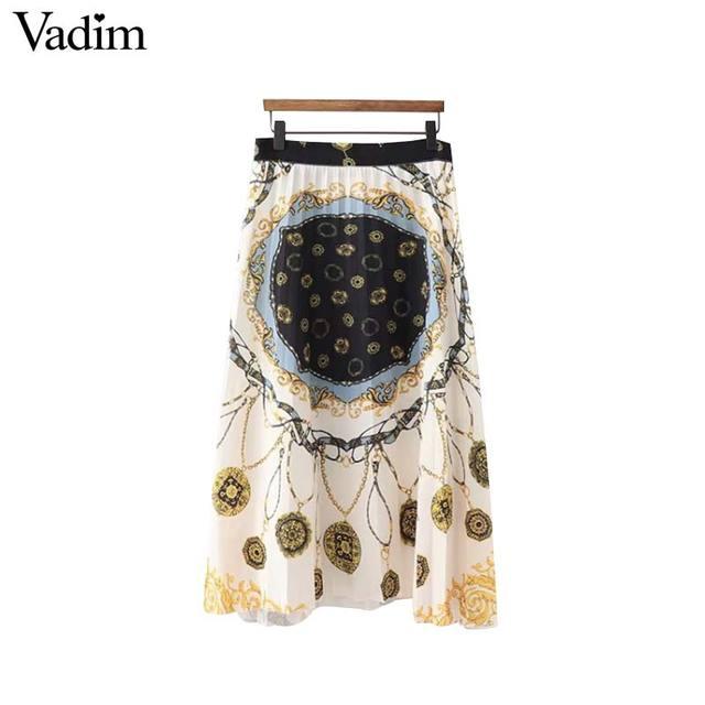 Vadim femmes chaînes élégantes imprimer jupe plissée faldas mujer taille fermeture éclair conception dames mode casual mi-mollet jupes BA151