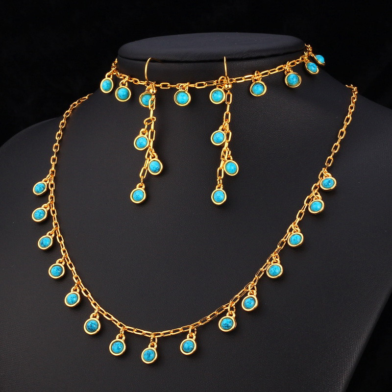 Popular Collare Turkish Nature Stone Jewelry Sets For Women Wedding Gold  NA94