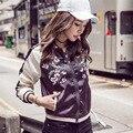 100% Real Fotos Outono Casual Fino Curto Básico Brasão Bomber Jacket Mulheres Outwear Roupas Jaqueta de Beisebol Feminino