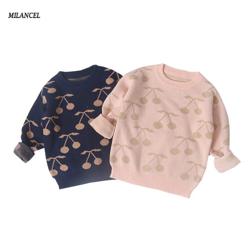 MILANCEl 2018 Kids Clothing Winter New Girls Sweaters Cherry Pattern Sweater for Boys Long Sleeve Girls Knitwear Boys Pullover stylish scoop neck long sleeve flag pattern knitwear for women