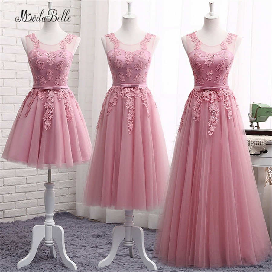 modabelle Lace Dusty Pink Bridesmaid Dresses For Wedding Cheap Demoiselle D'honneur Long Formal Dress Party Vestidos Adulto 2017