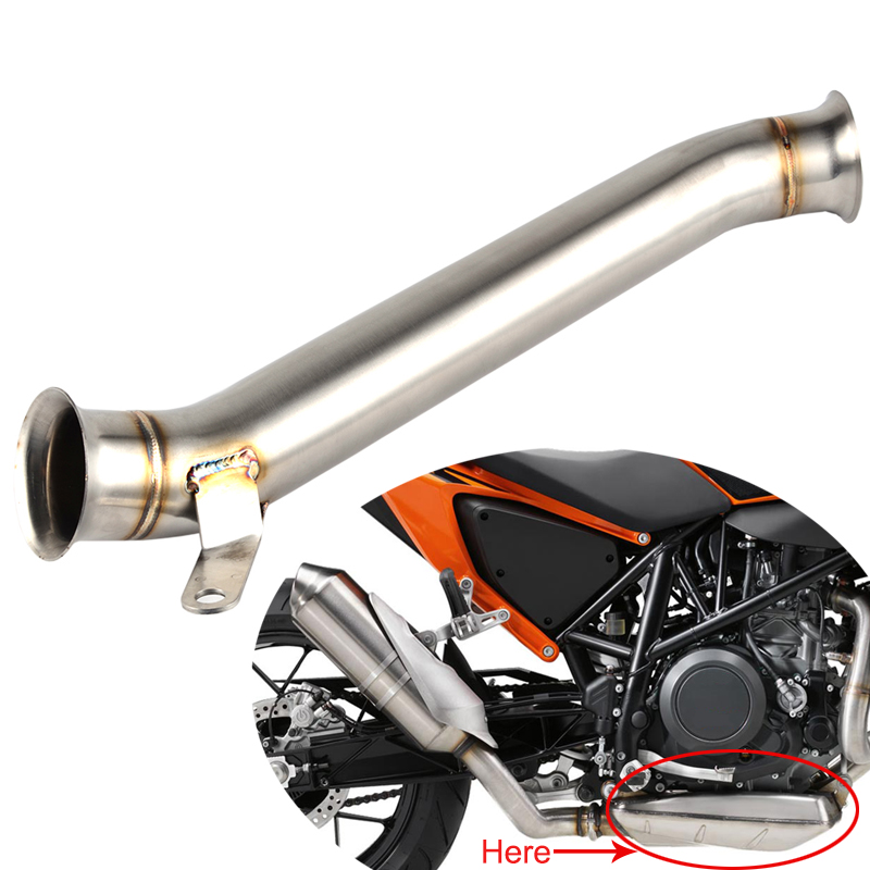 Motorcycle Link Pipe Exhaust Muffler Pipe Slip on Eliminator Middle Mid Pipe For KTM Duke 690