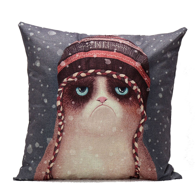 2017 Vintage Cartoon Owl pillow case slip Sad face Cat in Snow cushion case pillow cover retro style 45cm on sale