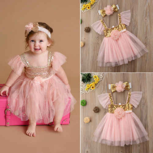 0-3Y  Toddler Kids Baby Girl Princess Dress Tulle Floral Princess Pageant  Party Tutu Dresses 2018 New Baby Girl Summer Clothes