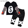 Sun Moon Kids Girls Clothes Casual Children Clothing Set 2017 Boys Clothes Tattoo Sleeves T-shirt + Pants Girls Outfits Boy Suit