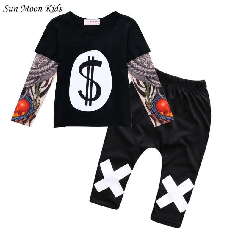 Sun Moon Kids Children Clothes Sleeves Girls Boy Suit
