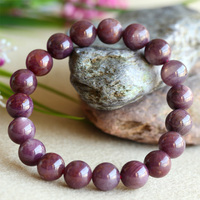 Wholesale Natural Genuine Red Africa Starlight Shine Ruby Bracelet Smooth Round Beads Finished Stretch BraceletsBeads 10mm