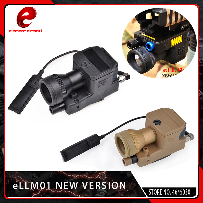 Element Airsoft eLLM01 New Version Red&IR Laser Infrared Flashlight Tactical LED Light Red Dot Softair Fully Functional Black