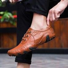 Купить с кэшбэком Big Size Men Moccasins Luxury Brand Loafers Genuine Leather footwear causal men shoes designer sneakers male black shoes Adult