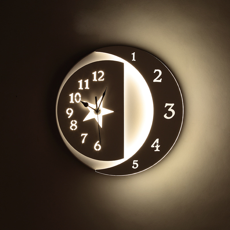 Nordic Modern Led Clock Wall Lamps Free Shipping Led Wall Light Bedroom Light Wall Clock Lamp Stars/Moon Wall Sconce Home Deco