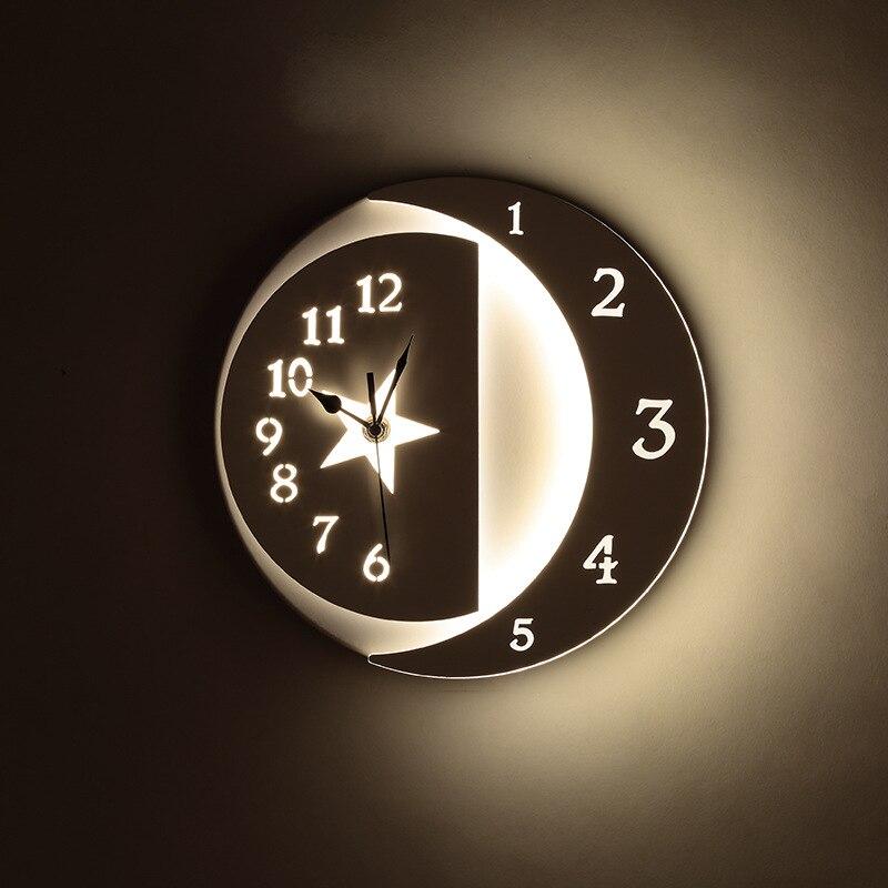 Nordique moderne horloge LED lampes murales livraison gratuite mur LED lumière chambre lumière horloge murale lampe étoiles/lune applique murale maison déco