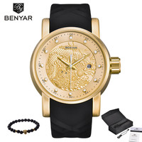 Mens Luxury Gold Wristwatches Male Brand Watches Quartz Man Clocks Waterproof Fashion Business Luminous Calendar Reloj