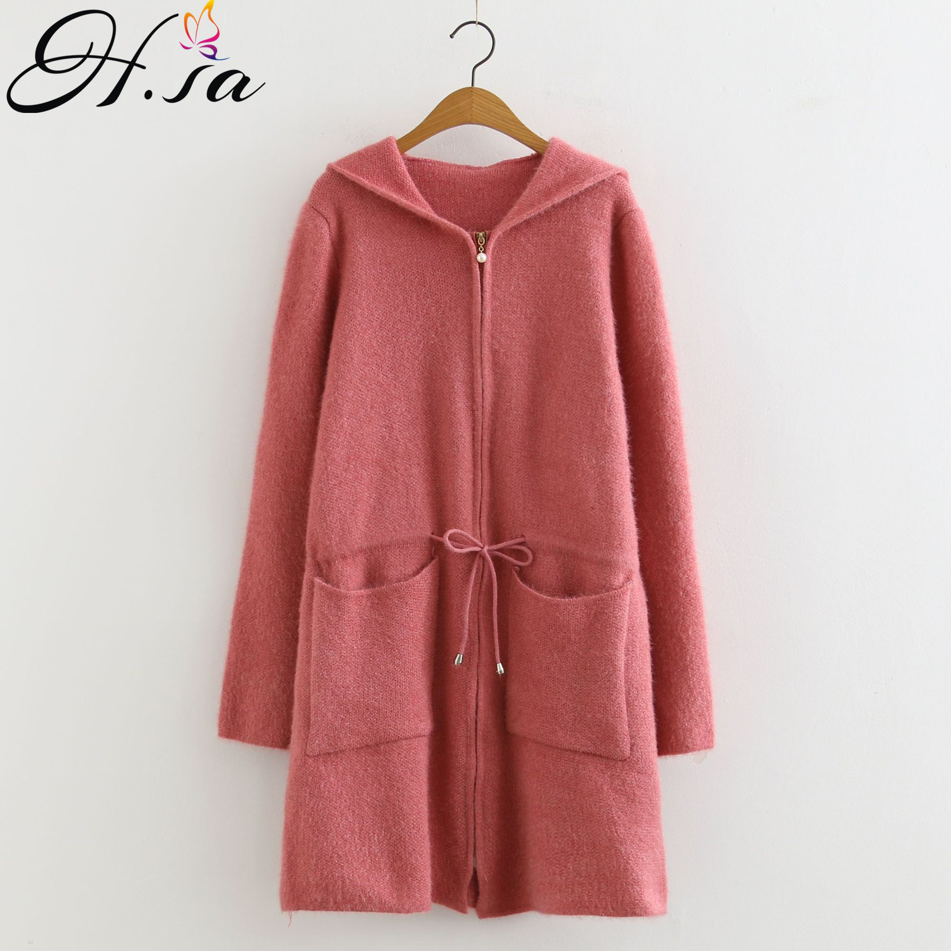 H.SA 2019 Long Hooded Knit Jacket And Coats Long Sleeve Sashes Zipper Ponchoes Sweater Cardigans Christmas Warm Coats  Outwear