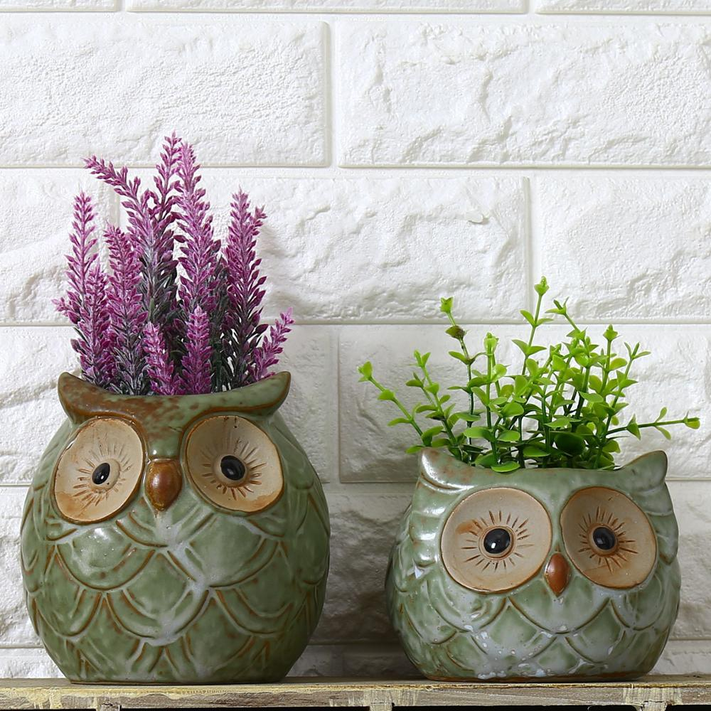 Ceramic Owl Garden Pots Planters Artificial Plants Flower
